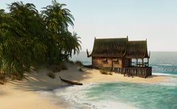 Insel-Haus der Wiedergabe-3D lizenzfreie stockfotografie