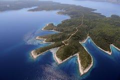 Insel Hvar von der Luft Stockfoto