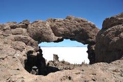 Insel Incahuasi Salar de Uyuni, Bolivien stockfotos
