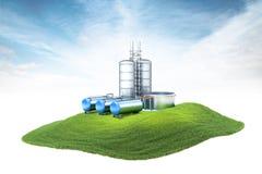 Insel mit Ölfabrik mit der Lagerung, die in die Luft schwimmt Stockbilder