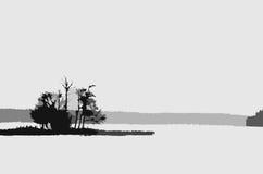 Insel mit Bäumen Lizenzfreie Stockfotos