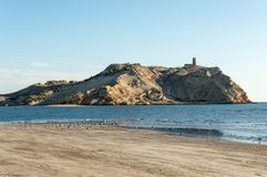 Insel mit einem Turm Stockfotografie
