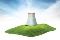 Insel mit Kühlturm des Atomkraftwerks, das in schwimmt Lizenzfreie Stockfotografie