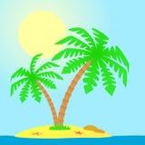 Insel mit Palmen. Lizenzfreies Stockfoto