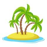 Insel mit Palmen isolaed auf weißem Hintergrund, tropischer Ozean des Sommerferien-Feiertags vektor abbildung