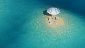 Insel mit Regenschirm lizenzfreie abbildung