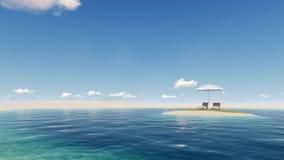 Insel mit Regenschirm Stockfotografie