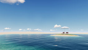 Insel mit Regenschirm vektor abbildung