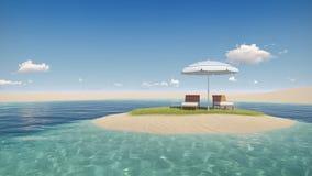Insel mit Regenschirm Stockbilder