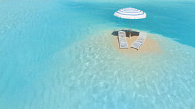 Insel mit Regenschirm Stockfoto