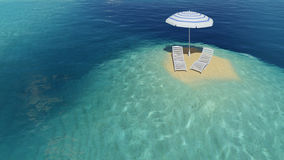 Insel mit Regenschirm Lizenzfreie Stockfotografie