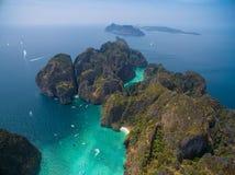 Insel PhiPhi Leh, aerialphoto Lizenzfreies Stockfoto