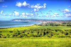 Insel Shanklin und Sandown von Wight fahren in klares und helles HDR die Küste entlang Lizenzfreies Stockfoto