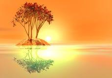 Insel am Sonnenuntergang Stockfoto