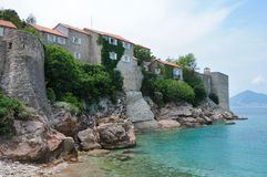 Insel Sveti Stefan, Adratic-Meer südlich von Montenegro Stockfotografie