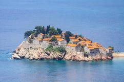 Insel Sveti Stefan, adriatisches Meer, Montenegro Stockfotos