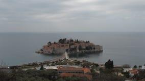 Insel Sveti Stefan in Budva stock video footage
