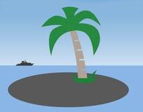 Insel- und Bootsillustration Stockfoto
