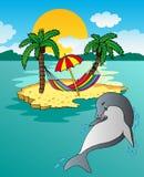 Insel und Delphin Stockfoto