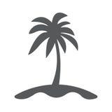 Insel- und Palmenikone flach Stockfotografie