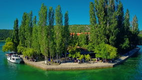 Insel Visovac, Luftschuß Lizenzfreie Stockbilder