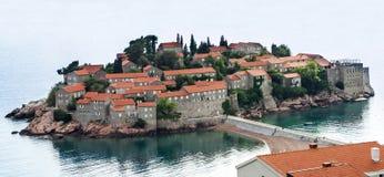 Insel von St Stephen, Budva, adriatisches Meer, Montenegro Stockbilder
