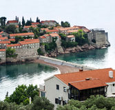 Insel von St Stephen, Budva, adriatisches Meer, Montenegro Lizenzfreies Stockfoto