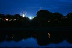 Insel von Wight-Festival-Fahrten nachts Lizenzfreies Stockfoto