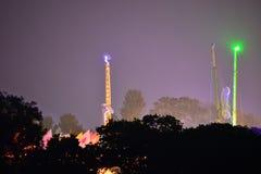 Insel von Wight-Festival-Fahrten nachts Lizenzfreies Stockbild