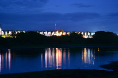Insel von Wight-Festival-Flaggen nachts Stockfotografie