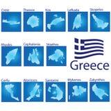 Inselkarte auf Griechenland-Vektorillustration Lizenzfreie Stockfotos