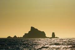 Inseln bei Sonnenuntergang bei Rialto setzen, Washington, US auf den Strand Lizenzfreie Stockbilder