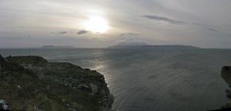 Inseln des Rums und des Canna von der Insel von Skye, Schottland Stockbilder