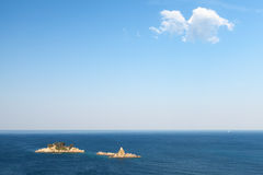 Inseln Katic und Sveta Nedjelja. Adriatisches Meer Lizenzfreies Stockfoto