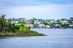 Inseln und Häuser Bermuda Stockfotografie