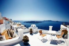 Inselpanoramablick Griechenlands Santorini Stockfoto
