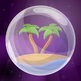 Inselseifenblase-Konzepthintergrund, Karikaturart lizenzfreie abbildung