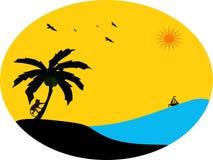 Inselszene mit Palme und Affen im Sonnenuntergang Stockbilder