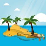 Inselwüste mit Pierrettungsringferien lizenzfreie abbildung