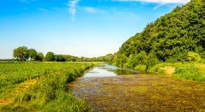 Insenatura con una zona rurale nella stagione estiva Fotografie Stock Libere da Diritti