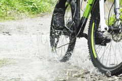 Insenatura dell'incrocio del ciclista in mountain-bike Immagine Stock