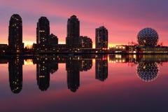 Insenatura falsa, orizzonte di alba, Vancouver Immagine Stock