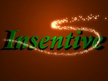 Insentive - 3d inscription with luminous line with spark Stock Photo