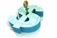 Inserção chave no dinheiro Imagem de Stock Royalty Free