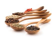 Inserção que picante da erva uma colher de madeira arranjou para preparar o alimento em um w Imagens de Stock Royalty Free