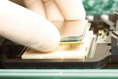 Inserción de la CPU Fotografía de archivo