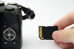 Inserción de la tarjeta del SD en una cámara de DSLR Imágenes de archivo libres de regalías