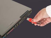Inserción del Memory Stick Foto de archivo libre de regalías