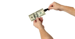 Inserisca i vostri soldi Fotografie Stock Libere da Diritti