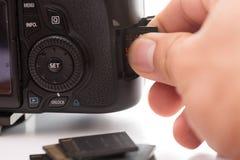 Inserisca la scheda di memoria di deviazione standard nella macchina fotografica Immagine Stock Libera da Diritti